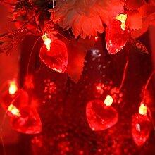 Guirlande Lumineuse Coeur Rouge Saint Valentin,