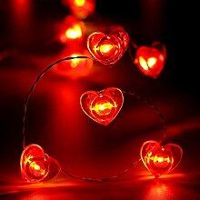 Guirlande Lumineuse Coeur Saint Valentin, 40 LED