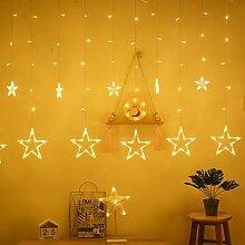 Guirlande lumineuse de noël 12 étoiles, rideau