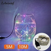 Guirlande lumineuse LED USB, fil cuivre argent, 5M
