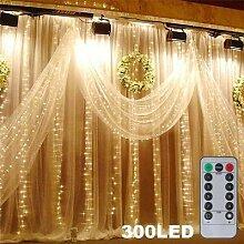 Guirlande lumineuse pour rideau de fenêtre, 300