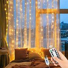 Guirlande lumineuse rideau 3M, télécommande,