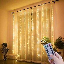 Guirlande lumineuse rideau LED, 3M, USB, pour