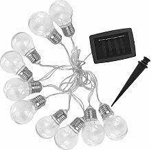 Guirlande lumineuse solaire 10 ampoules à effet