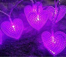 Guirlande lumineuse solaire 30LED perlé coeur