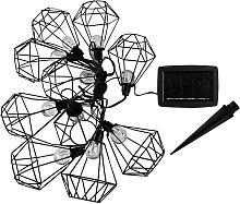 Guirlande lumineuse solaire acier noir 3.90m