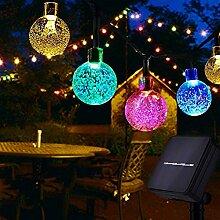 Guirlande lumineuse solaire avec boule de cristal
