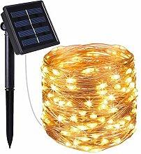 Guirlande lumineuse solaire en cuivre 100 micro