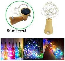Guirlande solaire 0.8M/1M/1.5M/2M, LED liège, vin