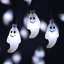 Guirlande solaire 30 LED fantômes pour jardin,