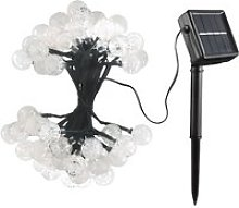 Guirlande solaire LED 60 boules 11m blanche