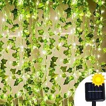 Guirlande solaire LED en feuilles de lierre,