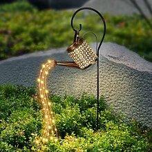 Guirlande solaire LED pour jardin, arrosoir avec