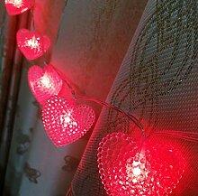 Guirlande solaire lumières 20LED perlé coeur