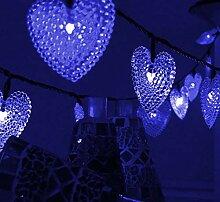 Guirlande solaire lumières 30LED perlé coeur