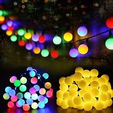 Guirlande solaire multicolore 50 s, étanche,