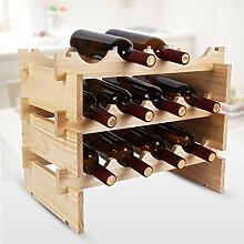 GUOCAO 3-Tier superposable Wine Rack -Wooden vin
