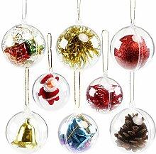 Gwhole Lot de 15 Boules de Noël Transparente à
