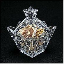 H-ei Vintage Cristal Verre Sucrier avec Couvercle,