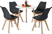 H.J WeDoo Table de Salle à Manger avec 4 chaises