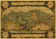 h-p Carte du Monde Vintage Toile Art Peinture À