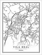 h-p Portugal Noir Et Blanc Carte du Monde Affiche