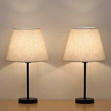 HAITRAL Lot de 2 lampes de chevet avec abat-jour