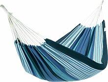 Hamac double en toile rayé bleu et vert