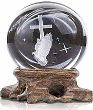 HDCRYSTALGIFTS Boule de cristal en croix 60 mm