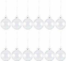 Heallily Lot de 12 boules de Noël en verre