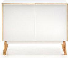 Hector - Buffet bois laqué blanc 2 portes