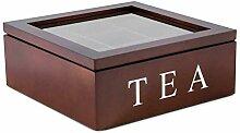 Heflashor Boîte à thé Coffret à thé en Bois
