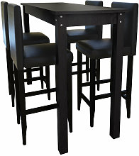 Helloshop26 - Lot de 4 tabourets de bar avec table