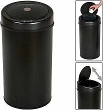 Helloshop26 - Poubelle automatique 50 litres noir