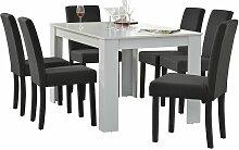 Helloshop26 - Table de salle à manger (blanc) + 6