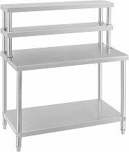 Helloshop26 - Table inox avec étagère 2 niveaux