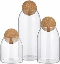 HEMOTON Lot de 3 bocaux en verre avec couvercle