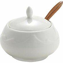 Hetoco Blanc Porcelaine Bol à Sucre, Sucrier avec