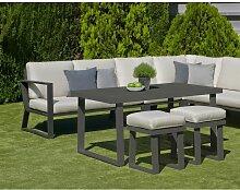Hevea - Salon de jardin avec sofa en aluminium
