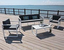 Hevea - Salon de jardin en aluminium 5 places Muna