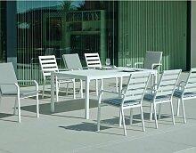 Hevea - Salon de jardin en aluminium 8 personnes
