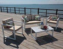 Hevea - Salon de jardin en aluminium Parma Blanc -