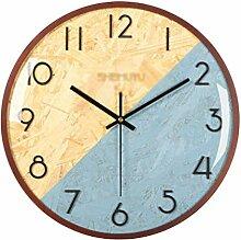 HeWenHui-Multifonction Big Horloge murale en bois