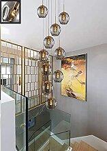 HEZ 10 Lumières Lustre de Boule de Verre de Verre