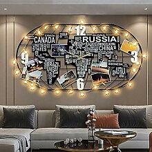 HGJDKSJ Horloge Murale Carte du Monde Salon