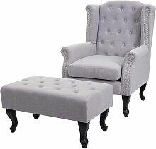 HHG - Fauteuil de luxe Chesterfield, fauteuil à
