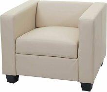 HHG - Fauteuil lounge chair Lille ~ Cuir, crème