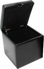 HHG - Pouf tabouret cube-coffre Onex, cuir,