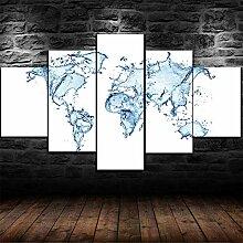 HHXXTTXS Carte du Monde de l'eau Abstraite