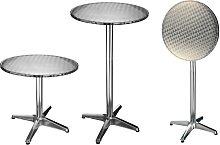 HI Table de bistro-bar pliable Aluminium Rond 60 x